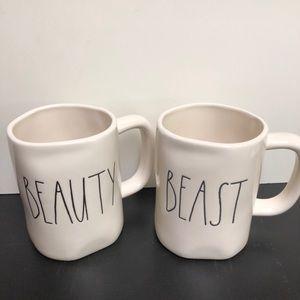 Rae Dunn beauty and beast mug set